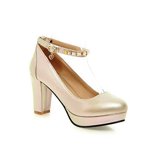 Balamasa Dames Kraal Metaal Ornament Dikke Hak Nagebootst Lederen Pumps-schoenen Goud