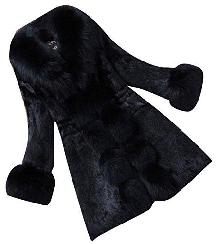 Solid Color Coat Outerwear Black - 2