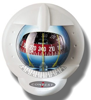 (Nautos 64417 - Contest 101 Compass - Vertical Mount-White Bezel - RED Card- PLASTIMO)