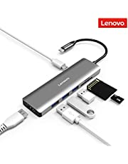 Lenovo USB C Hub, Type C Adapter with USB 3.0, 4K HDMI, USB C PD Power Delivery, SD/TF Card Reader, Multiport USB-C Adapter Compatible for USB C Devices