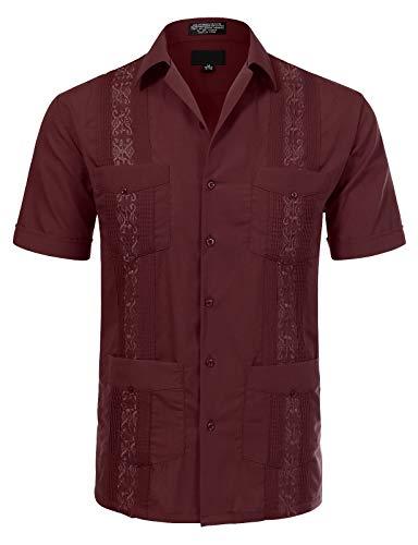 (JD Apparel Men's Short Sleeve Cuban Guayabera Shirts16-16.5N Large Burgundy)