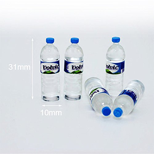 Amyove Miniature Toy 5pcs Simulate Mini Mineral Water Bottle Kids Dollhouse Miniature Toy Gift Decoration Best Gift for Kids Round blue cover blue sticker ()