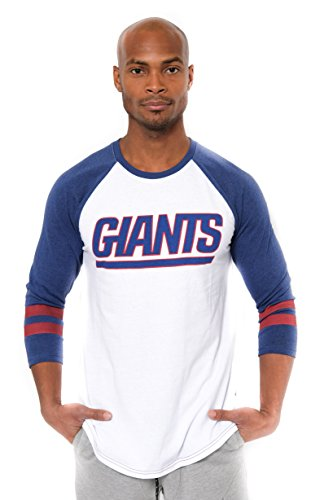 NFL Men's New York Giants T-Shirt Raglan Baseball 3/4 Long Sleeve Tee Shirt, Medium, - Ny Giants Football Jersey
