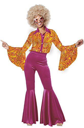 [California Costumes Women's Funky Disco Diva, Gold/Berry, Large] (Womens Disco Diva Costume)