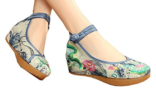 Avacostume Mujeres Lotus Embroidery Buckles Platform Wedges Gray