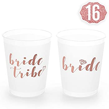 xo fetti rose gold bachelorette party bride tribe bridal shower cups w 2