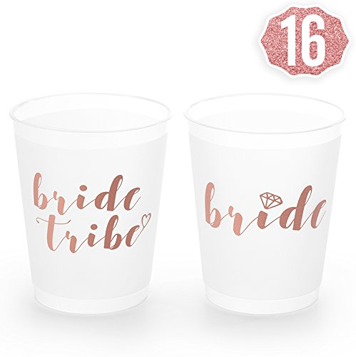 xo, Fetti Rose Gold Bachelorette Party Bride Tribe + Bridal Shower Cups w/ 2special Bride Cup - 16 Count, 16 Oz. | Engagement Party Decoration and Bride To Be Gift