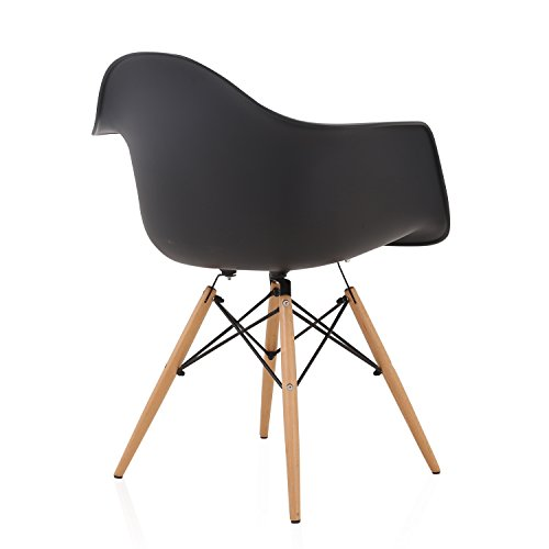 DAW Nordic Black Molded Plastic Dining Arm Chair with Beech Wood Eiffel Legs by CozyBlock (Image #3)