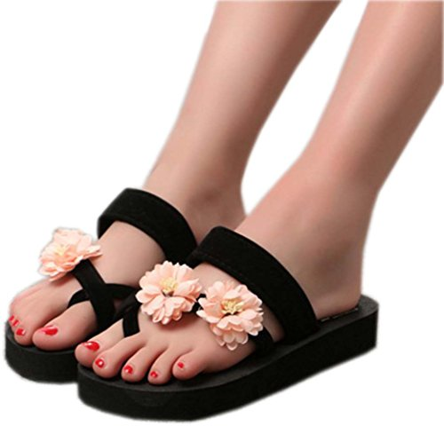 bettyhome Women Lady Girls Sexy Bohemia Bandage Flowers Thongs Comfortable Casual Wedges Sandals Beach Flip Flops Slippers Pink PPfCbg0h6
