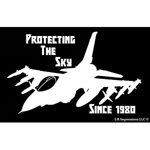 F-16 Protecting The Sky Decal Vinyl Sticker|Cars Trucks Walls Laptop|WHITE|7.5 X 5 In|URI427