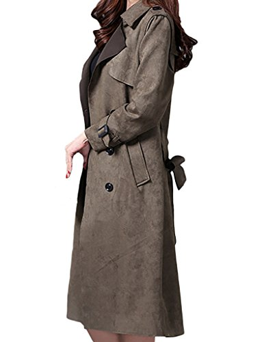 Faux Suede Double Breasted Lapel Thin Trench Coat Jacket With Belt ()