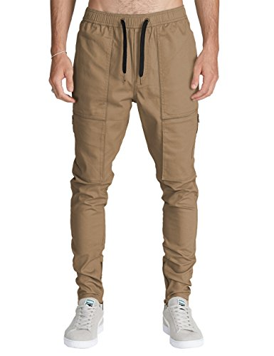 ITALY MORN Mens Cargo Pants Casual Chino Slim Elastic Waist Multi Pockets (Dark Khaki, Medium)