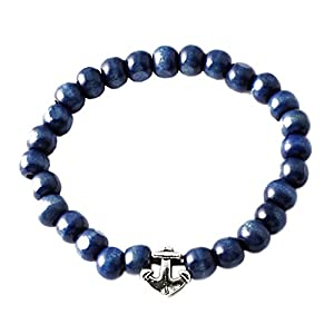 RAVE Mens Shamballa Wood Bead Bracelet Blue with Silver Anchor Charm
