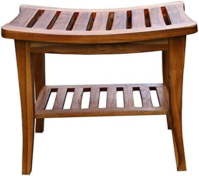 Ala Teak Indoor Outdoor Patio Garden Yard Bath Shower Spa Waterproof Stool Bench Fully Assembled