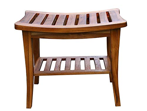 Ala Teak Indoor Outdoor Patio Garden Yard Bath Shower Spa Waterproof Stool Bench Fully Assembled (Stain Garden Furniture Wood)