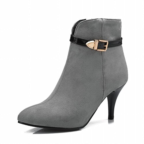 Boots Stiletto Pointed Sexy Dress Zipper Womens Heel Toe Buckle High Grey Chic Carolbar 8xqPwApf8