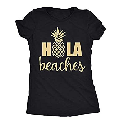 YEXIPO Womens Hola Beaches Pineapple Print T Shirt Hawaiian Summer Vacation Funny Graphic Tees Short Sleeve Tops