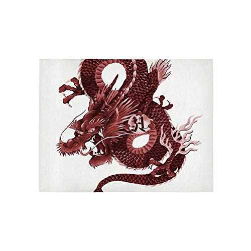 - Dragon Utility Area Rug,Japanese Dragon Figure Tatsu Deity Symbol Sacred Folk Noble Monster Theme Decorative for Home,60