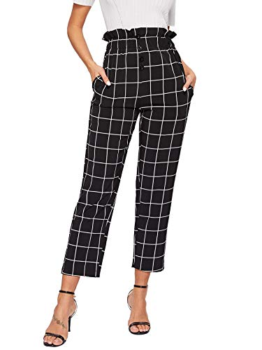 (WDIRARA Women's Elastic Waist Plaid Print Pants Soft Printed Fashion Leggings Black and White M)