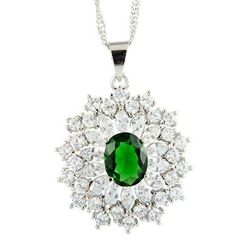 RIZILIA Oval Simulated Green Emerald 18K White Gold Plated Slide Pendant Necklace Curb Chain