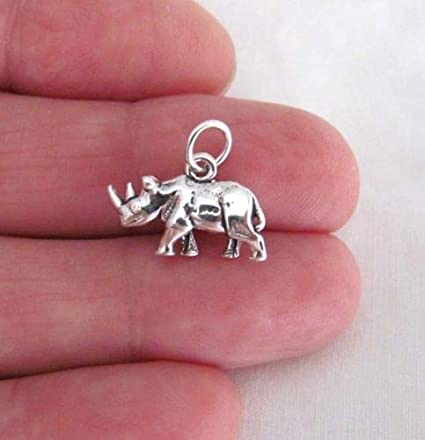 RHINOCEROS Charm Pendant Rhino African Safari Zoo Animal STERLING SILVER 3D 925