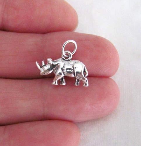(Sterling Silver 3D Rhino Rhinoceros Charm - Jewelry Accessories Key Chain Bracelet Necklace Pendants)