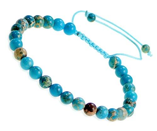 AD Beads Natural 6mm Gemstone Bracelets Healing Power Crystal Macrame Adjustable 7-9 Inch (22 Blue Sea Sediment)