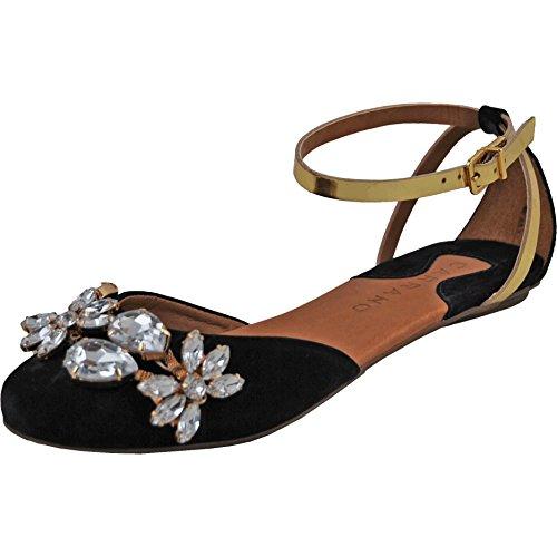 Carrano Natasha Women's Jewel Black Leather Sandal 8 US
