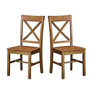 Amazon Brand – Ravenna Home Classic-Style Solid Pine Dining Chair, 40″H, Black Finish, Set of 2