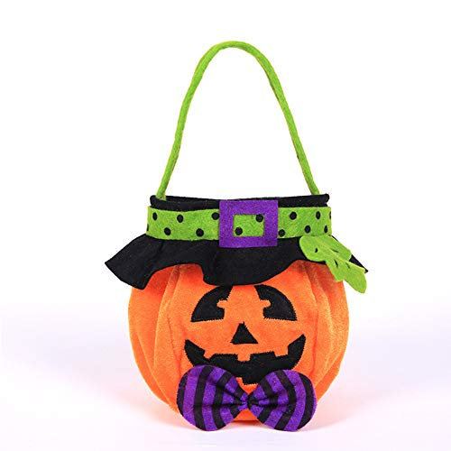 JanLEESi Kids Halloween Candy Bags Handle for Trick-or-Treating Snacks Bag Non-Woven Fabrics Party Sugar Storage Handbag Tote,Pumpkin