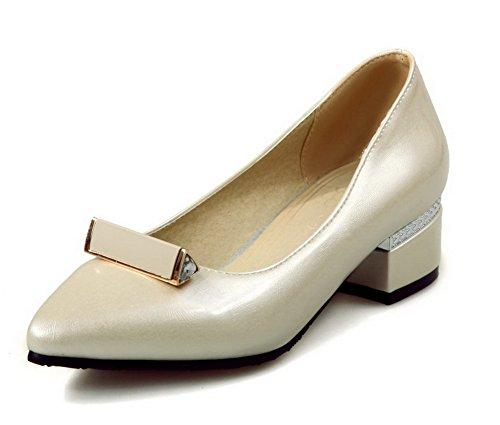 VogueZone009 Damen Ziehen auf PU Leder Eingelegt Spitz Zehe Pumps Schuhe Cremefarben