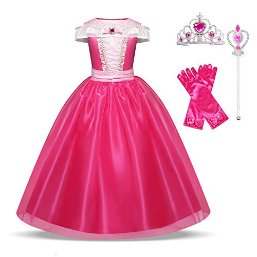 HNXDYY Aurora Costume Princess Girls Fancy Carnival Party Dress Size(130) 6-7 Years Rose