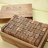 This listing is for a 70-piece set of Japanese Hiragana rubber stamps. It comes with a 4-color ink pad.