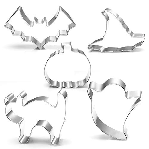 Halloween Cookie Cutters Set Large - Witch's Hat, Pumpkin, Ghost, Bat and Cat Cutter Stainless -