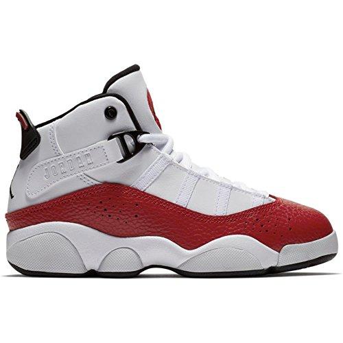 NIKE PS Boys' Jordan 6 Rings Basketball Shoes White/Black-Gym Red 2.5Y (Jordan Shoes For Boys Ps)