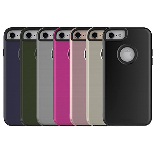 Simple cepillado textura 2 en 1 PC + TPU Combinación funda protectora para el iPhone 6 Plus y 6s Plus by diebelleu ( Color : Army green ) Grey