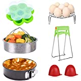 Henwei Instant Pot Accessories Set-Fits 5,6,8Qt Instant pot Pressure Cooker,7 Pcs with Steamer Basket, Non-stick Springform Pan, Egg Steamer Rack, Egg Bites Molds, Dish Clip, Silicone Cooking Pot