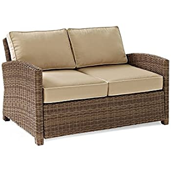 Crosley Furniture Bradenton Outdoor Wicker Loveseat With Cushions   Sand