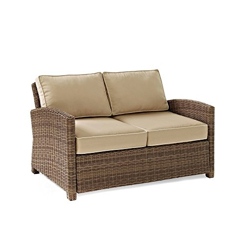 Crosley Furniture Bradenton Outdoor Wicker Loveseat with Cushions - Sand (Outdoor Loveseats)