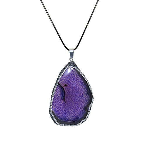 ART KIM Natural Druzy Drusy Quartz Geode Agate With Pave Crystal Rhinestone Charms Pendant Necklaces (Light Purple)