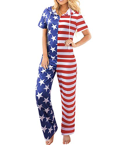 BONESUN Independence Day Wide Legs Pants, Stripe Stars USA Flag Printing Casual Overalls Long Jumpsuits Blue L