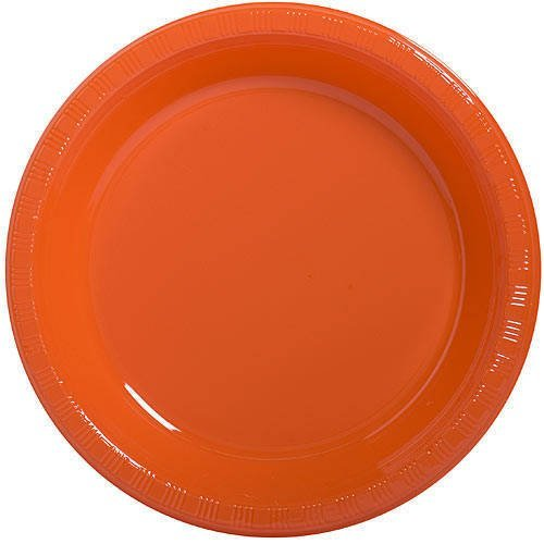 Reusable Round Dinner Party Plates Tableware, Orange Peel, Plastic , 10