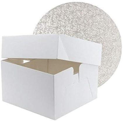 Caja para tartas estándar blanca de 25,4 x 25,4 x 15,2 cm y tablero redondo de 25,4 cm: Amazon.es: Hogar