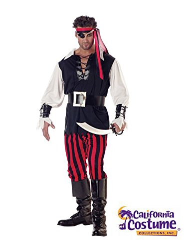 California Costumes Men's Adult-Cutthroat Pirate, Black/Red/White, M (40-42) -