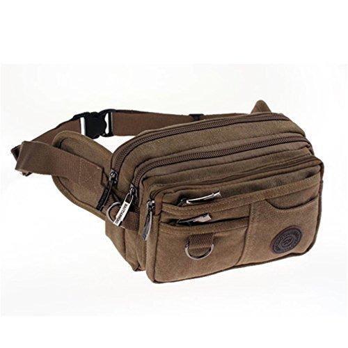Canvas Waist Pack Leisure Waist Bag Men Top Grade Retro Chest Bag Pack Multi-Function Bag Men Khaki