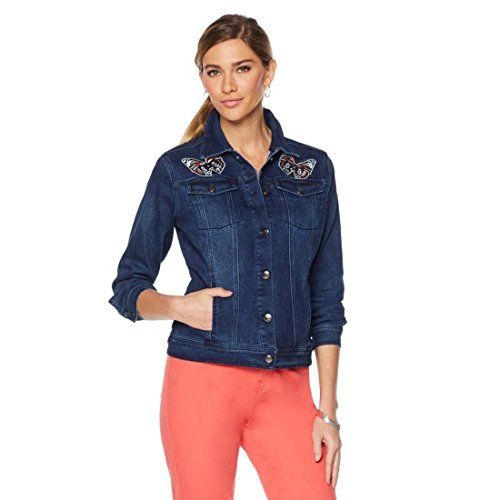 DG2 by Diane Gilman Butterfly Embroidered Denim Jacket Pckts Indigo 2X New 530-420 Butterfly Jean Jacket