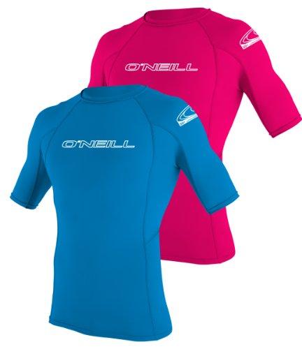 ONeill  UV Sun Protection Youth Basic Skins Short Sleeve Crew Sun Shirt Rash Guard, Bright Blue, 16