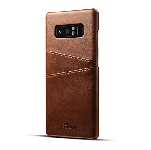 Fashioneey Samsung Galaxy Note 8 Leather Card Case, Minimalist Vintage Synthetic Leather Wallet Case, Ultra Slim Professional Cover with 2 Card Holder Slots for Samsung Galaxy Note 8