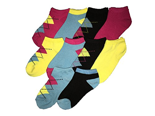 080538332620 - Trimfit Little Girls Argyle Heel & Toe Accent Color Socks 10-Pack Pink-Yellow-Blue S / 7-9 sock / 9-3 shoe size carousel main 0