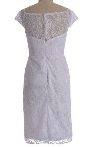 MACloth Women Customized V Neck Lace Short Mother of Bride Dress Cocktail Gown Plateado